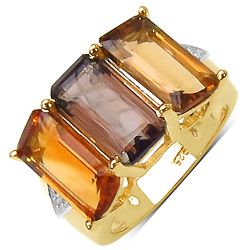 14K Yellow Gold Plated 8.17 Carat Genuine Smoky Quartz .925 Sterling Silver Ring