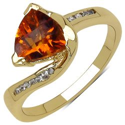 14K Yellow Gold Plated 1.07 Carat Genuine Citrine & White Topaz .925 Streling Silver Ring