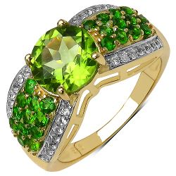 2.83 Carat Genuine Multi Stones .925 Sterling Silver Ring