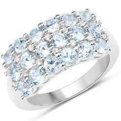 2.29 Carat Genuine Blue Topaz & White Topaz .925 Sterling Silver Ring
