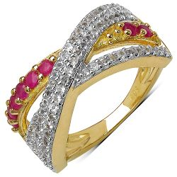 14K Yellow Gold Plated 0.70 Carat Genuine Ruby & White Topaz .925 Streling Silver Ring