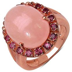 14K Rose Gold Plated 10.50 Carat Genuine Morganite & Rhodolite .925 Streling Silver Ring
