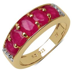14K Yellow Gold Plated 2.77 Carat Genuine Ruby & White Topaz .925 Streling Silver Ring