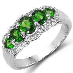 0.98 Carat Genuine Chrome Diopside .925 Sterling Silver Ring