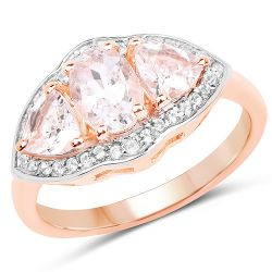 14K Rose Gold Plated 1.56 Carat Genuine Morganite & White Topaz .925 Sterling Silver Ring