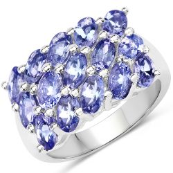 3.75 Carat Genuine Tanzanite .925 Sterling Silver Ring