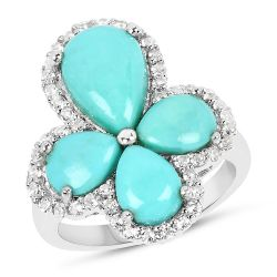 6.31 Carat Genuine Turquoise & White Topaz .925 Sterling Silver Ring