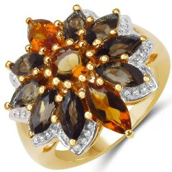 14K Yellow Gold Plated 3.46 Carat Genuine Citrine & Smoky Quartz .925 Sterling Silver Ring