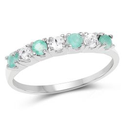 0.46 Carat Genuine Emerald and White Topaz .925 Sterling Silver Ring