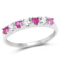 0.54 Carat Genuine Ruby and White Topaz .925 Sterling Silver Ring