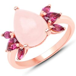 14K Rose Gold Plated 3.90 Carat Genuine Morganite and Rhodolite .925 Sterling Silver Ring