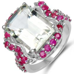 8.76 Carat Genuine Green Amethyst & Ruby .925 Sterling Silver Ring