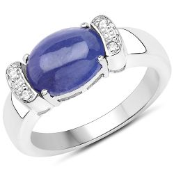 3.57 Carat Genuine Tanzanite and White Topaz .925 Sterling Silver Ring