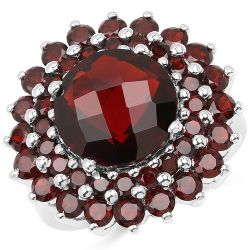 10.10 Carat Genuine Garnet .925 Sterling Silver Ring