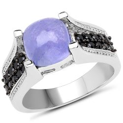 3.20 Carat Genuine Tanzanite and Black Spinel .925 Sterling Silver Ring