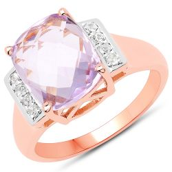 14K Rose Gold Plated 3.88 Carat Genuine Pink Amethyst and White Topaz .925 Sterling Silver Ring