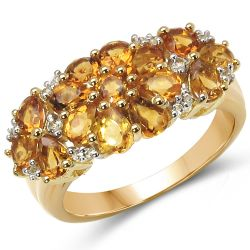 18K Yellow Gold Plated 2.61 Carat Genuine Citrine & White Topaz .925 Sterling Silver Ring