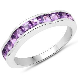 1.65 Carat Genuine Amethyst .925 Sterling Silver Ring