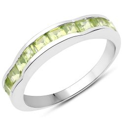 1.65 Carat Genuine Peridot .925 Sterling Silver Ring
