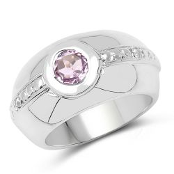 0.77 Carat Genuine Amethyst & White Topaz .925 Sterling Silver Ring