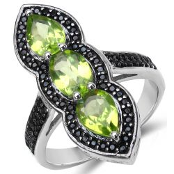 2.87 Carat Genuine Peridot & Black Spinel .925 Sterling Silver Ring