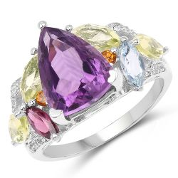 6.30 Carat Genuine Multi Stone .925 Sterling Silver Ring