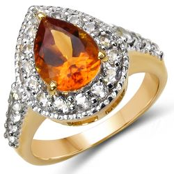 14K Yellow Gold Plated 2.41 Carat Genuine Citrine & White Topaz .925 Sterling Silver Ring