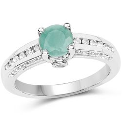1.22 Carat Genuine Emerald and White Topaz .925 Sterling Silver Ring