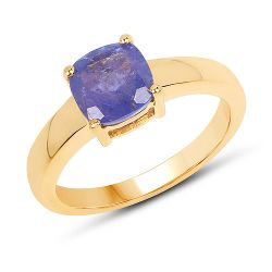 14K Yellow Gold Plated 1.80 Carat Genuine Tanzanite .925 Sterling Silver Ring