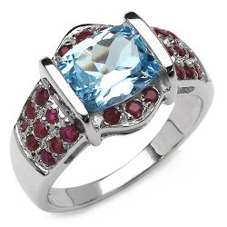 4.22 Carat Genuine Blue Topaz & Ruby .925 Sterling Silver Ring