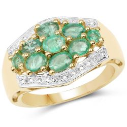 18K Yellow Gold Plated 1.19 Carat Genuine Zambian Emerald .925 Sterling Silver Ring