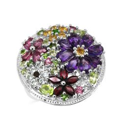 4.02 Carat Genuine Multi Stones .925 Sterling Silver Ring