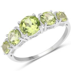 2.30 Carat Genuine Peridot .925 Sterling Silver Ring