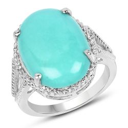9.53 Carat Genuine Turquoise & White Topaz .925 Sterling Silver Ring