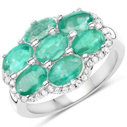 3.33 Carat Genuine Zambian Emerald and White Zircon .925 Sterling Silver Ring