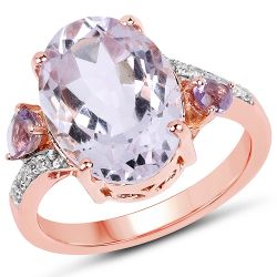"""14K Rose Gold Plated 5.22 Carat Genuine Pink Amethyst, Amethyst & White Topaz .925 Sterling Silver Ring"""
