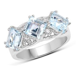 3.84 Carat Genuine Blue Topaz and White Topaz .925 Sterling Silver Ring