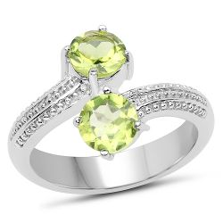 1.60 Carat Genuine Peridot .925 Sterling Silver Ring