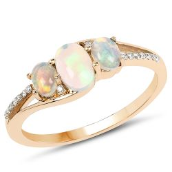 0.56 Carat Genuine Ethiopian Opal and White Diamond 14K Yellow Gold Ring