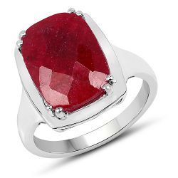 7.60 Carat Dyed Ruby .925 Sterling Silver Ring