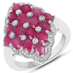 3.80 Carat Ruby and White Zircon .925 Streling Silver Ring