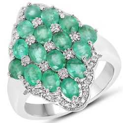 2.68 Carat Zambian Emerald and White Zircon .925 Streling Silver Ring