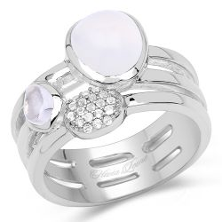 """2.08 Carat Genuine White Agate, Crystal Quartz And White Topaz .925 Sterling Silver Ring"""