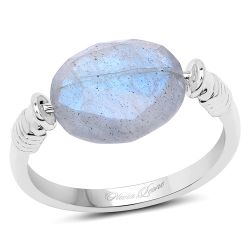 4.05 Carat Genuine Labradorite .925 Sterling Silver Ring