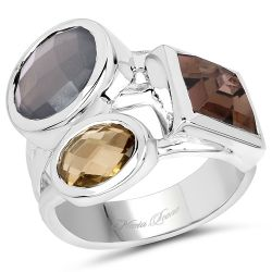"""5.32 Carat Genuine Grey Moonstone, Smoky Quartz And Champagne Quartz .925 Sterling Silver Ring"""