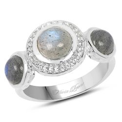 2.74 Carat Genuine Labradorite And White Topaz .925 Sterling Silver Ring