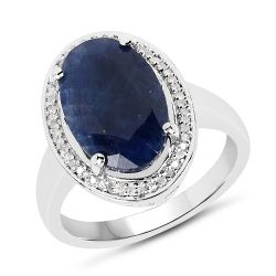 6.39 Carat Genuine Sapphire and White Diamond .925 Sterling Silver Ring