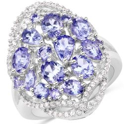 3.67 Carat Genuine Tanzanite and White Zircon .925 Streling Silver Ring