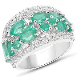 3.27 Carat Genuine Emerald and White Zircon .925 Streling Silver Ring