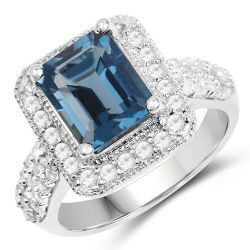 5.14 Carat Genuine London Blue Topaz and White Topaz .925 Sterling Silver Ring